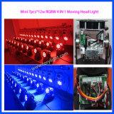 Mini LED de la colada 7PCS * 12W RGBW luz principal móvil