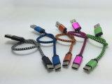 Tipo-c trenzado cable del USB de la tela del cortocircuito de los 25cm para la batería de la potencia
