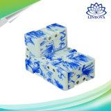 Cubo anti de la tensión de la porcelana de la persona agitada del cubo del juguete del cubo mágico mágico azul y blanco del cubo