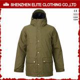 Rivestimento caldo di Snowbaord di inverno verde del Mens dell'esercito con il cappuccio (ELTSNBJI-27)