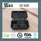 Envase de alimento disponible de Microwavable de la manera negra de la alta calidad con la tapa con bisagras