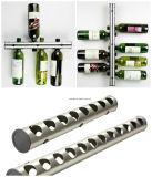 Новой стеллаж для выставки товаров бутылок вина новизны конструкции алюминиевой установленный стеной