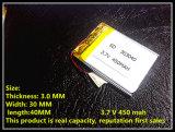 Batería 450mAh del OEM 303040 3.7V Lipo RC de la fábrica de Shenzhen del surtidor de China para helicóptero del polímero de RC Li el pequeño, GPS, MP3, MP4, herramientas