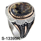 Anel de 925 homens do ajuste dos anéis de prata micro com pedra