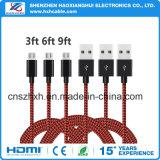 зарядный кабель USB Micro нейлона 3.3FT Braided