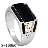Novo modelo 925 anéis de prata de esmalte plano homens anéis
