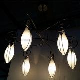 Livingroom Six Lights Opal Vidro branco Flower Shape Chandelier