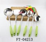 Herramientas de la cocina de la maneta del gel de silicona del verde del acero inoxidable (FT-04213)