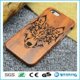 Caixa de telefone de madeira natural esculpida real para iPhone Samsung