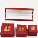 Cadre de bijou en plastique respectueux de l'environnement de velours avec l'impression d'or (J37-E2)
