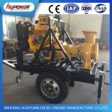 De Pomp van het Water van de dieselmotor met Aanhangwagen voor Irrigatie wordt geplaatst die