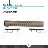 Kohlenstoff-Faser-Zusammensetzung- (CFC)freier Gleitbetrieb Keymod 15 Spitzenschiene Tan der Zoll Handguard Schienen-W/Picatinny