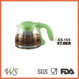 Wschas036 Stovetopの耐熱性超明確なホウケイ酸塩ガラスの注入の茶鍋デザイン