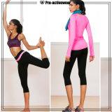 A alta qualidade feita sob encomenda seca caneleiras aptas da aptidão da ginástica, mulheres das calças da ioga do Spandex
