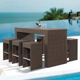 Handels-KTV Kombinations-beiläufiger hoher Schemel-Rattan-Stab-Stuhl und Tisch-Set