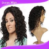 Peluca llena del cordón del color del pelo brasileño profundo natural de la onda con el pelo del bebé