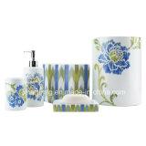 Accessorio di ceramica della stanza da bagno della decalcomania del fiore della banda/accessorio del bagno/insieme della stanza da bagno