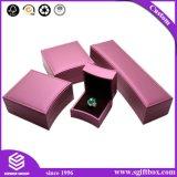 Rectángulos de joyería de empaquetado impresos negro del regalo de la insignia de encargo de papel
