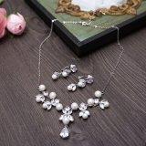 結婚の花嫁の銀製の宝石類の真珠のラインストーンのネックレス