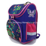 A trouxa roxa da borboleta das meninas caçoa o saco impermeável do Knapsack da escola de Mochila