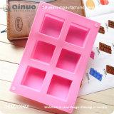 Molde de borracha do bolinho do alimento seis cor-de-rosa quadrado para fazer o queque dos bolinhos