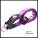 Collare di cane viola dell'animale domestico di Nyon con la sovrapposizione tessuta jacquard
