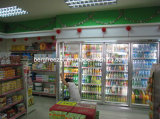 Caminhada comercial no refrigerador de vidro da bebida da porta