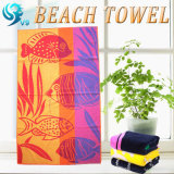 テリーの側面の綿によって印刷されるビーチタオル