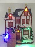 Huizen van het Dorp van Kerstmis van de Hars van de fabriek de Prijs Aangestoken met Muziek