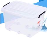 La famiglia di plastica superiore della casella di memoria 35L gioca i contenitori di plastica accatastabili di immagazzinamento in il contenitore di pacchetto dell'alimento dei vestiti con le rotelle