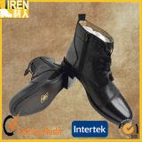 黒いパテント牛革Goodyearのふち飾りの足首のオフィスの靴