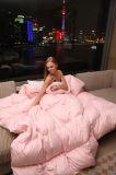 Pato branco cor-de-rosa da tela de algodão da cor que enche para baixo o Quilt
