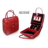 Contenitore di monili rosso del contenitore di regalo dei monili del cuoio del reticolo dello struzzo di figura della borsa di modo
