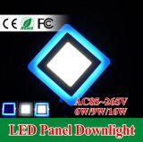 Las luces del panel dobles de la lámpara 6With9With16With24W LED del techo del color ahuecaron White+Blue moderno
