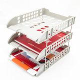 Het stevige Rek van de Vertoning van 3 van de Rij van de Desktop van het Dossier Houders van de Dienbladen Plastic