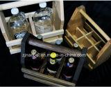 Vendimia de encargo de la insignia sostenedor de madera de la cerveza de 6 paquetes con el abrelatas