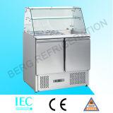 Refrigerador de mármol de tragante abierto de Saladette de tres puertas (cubierta de cristal)