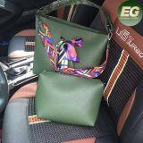 Подгонянный мешок Shoudler женщин PU нового Vegan сумки типа кожаный с цветастой планкой Sy7791