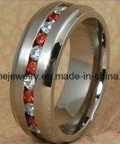 Moda Red Zircon piedra de acero inoxidable Titanium Anillos (TR1823)