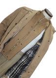 남자 카키색 색깔 두 배 대 고리 겨울 재킷
