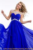 Robe d'usager formelle Chiffon jaune rouge intéressante de bal d'étudiants de bleu royal (EDW067)