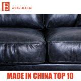 Sofá superior del sofá del cuero genuino del estilo del color italiano del negro