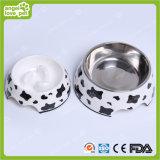 Milch Cow Melamine Bowl mit Edelstahl Pet Bowl