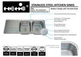 Oberseite-Montierungs-Gleichgestellt-Doppelt-Filterglocke-Küche-Wanne des Edelstahl-18-7/8X47-1/5 mit Abfluss-Vorstand