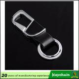 黒い金属の革Keychain