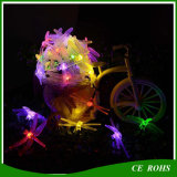 Lumières solaires Arbre de noël Décoratif LED Strip Light Dragonfly Solar String Lights Lampe à cordes colorées 20LED / 30LED pour le festival