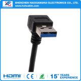 Maschio ad angolo retto del cavo di estensione di 90 gradi del USB 3.0 all'adattatore femminile