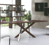 Noce Veneer Dining Table con Stainless Steel & MDF Leg (A289)