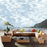 O sofá ao ar livre do jardim da mobília do Rattan do projeto popular ajustou-se pelo &PE-Rattan de Alumínio Frame tecido (YT016-8PCS/set)
