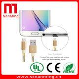 Cable micro de Smartphone del cable de datos del USB del teléfono móvil del cable del cargador de los datos--Oro con gris